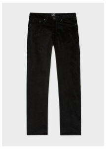 Men's Tapered-Fit Black Corduroy Trousers