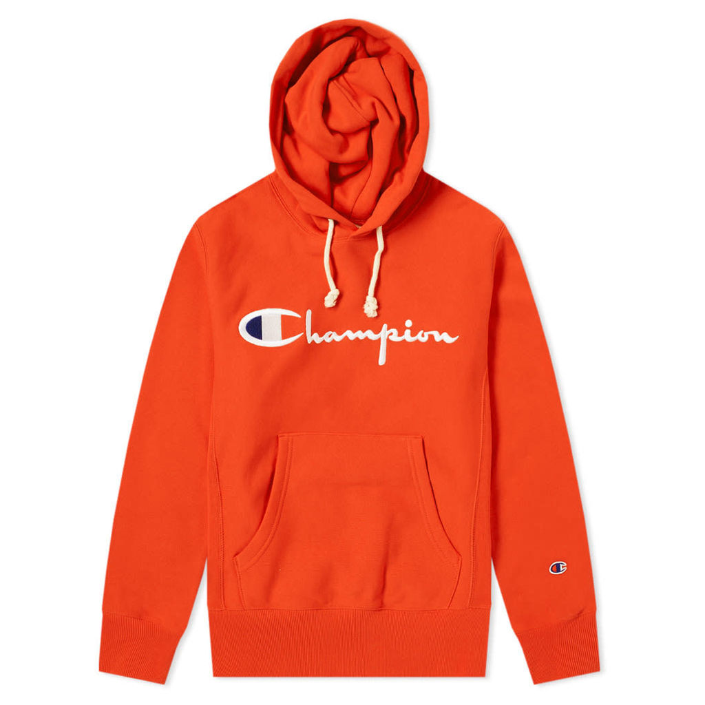 Champion Reverse Weave Script Logo Hoody Safety Orange