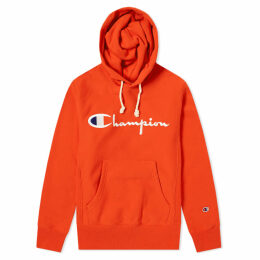 Champion Reverse Weave Script Logo Hoody Safety Orange