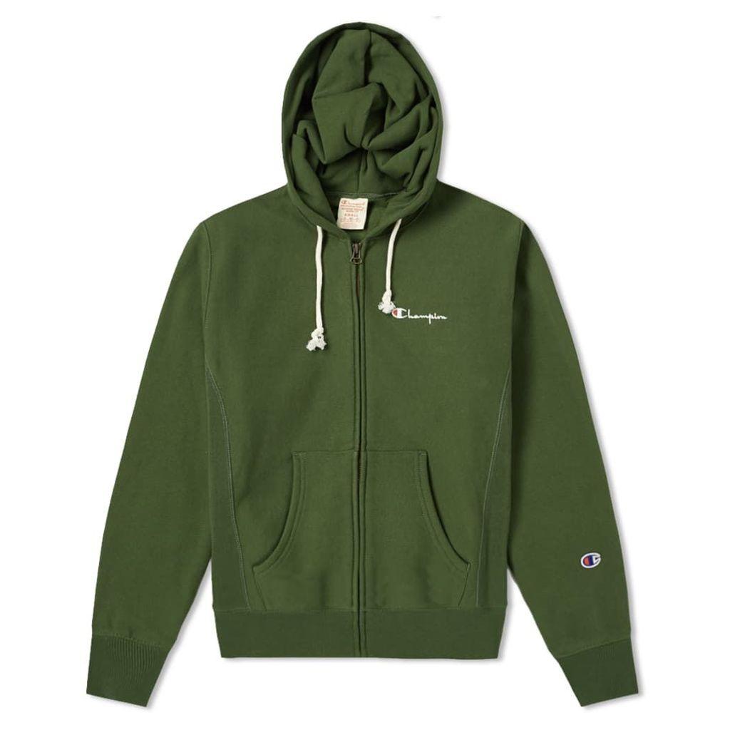 Champion Reverse Weave Script Logo Zip Hoody Bottle Green