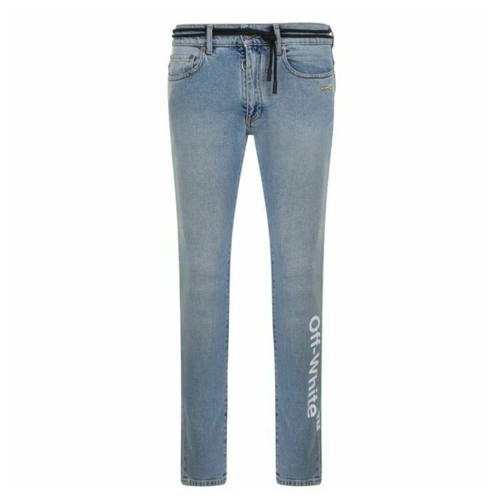 OFF WHITE Slim Skinny Embroidered Jeans