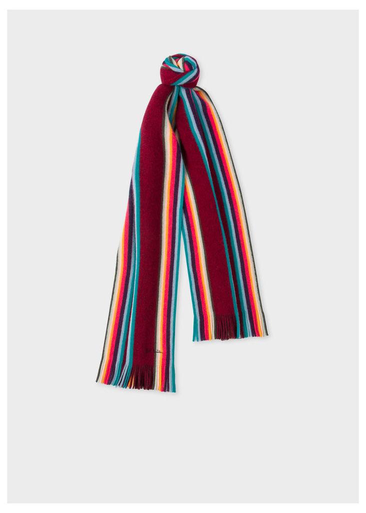 Men's Burgundy 'Artist Stripe' Band Merino Wool Scarf
