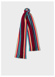 Men's Burgundy 'Artist Stripe' Band Merino Wool Scarf