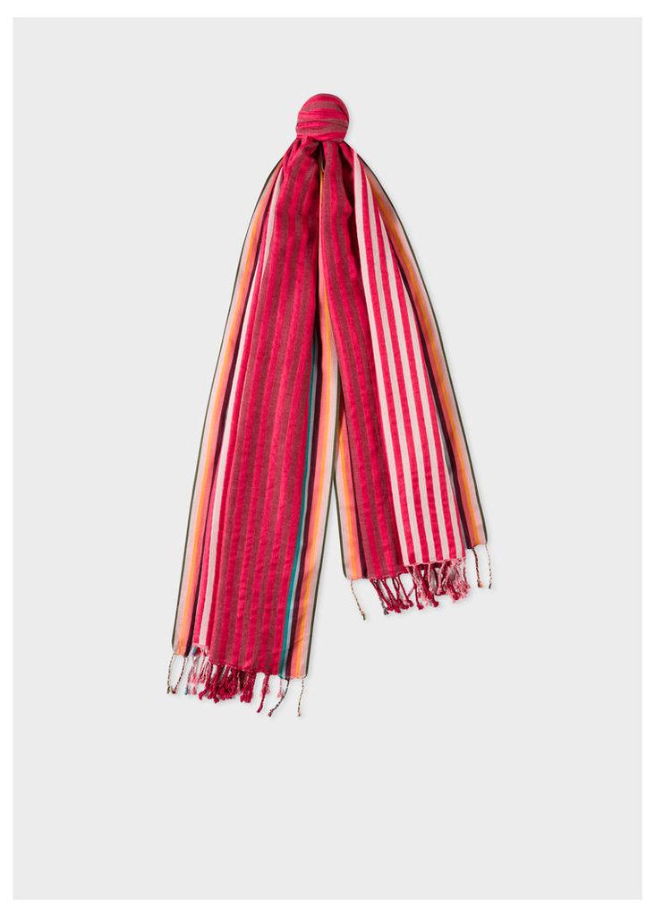 Men's Two-Tone Red Stripe Cotton-Silk Scarf