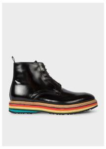 Men's Black High-Shine Leather 'Corelli' Boots With Multi-Coloured Soles