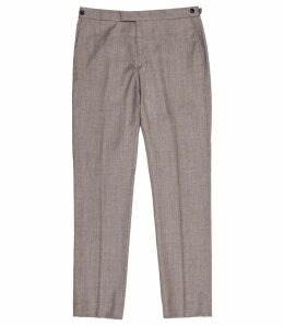 Reiss Welder - Wool Slim Fit Trousers in Taupe, Mens, Size 38