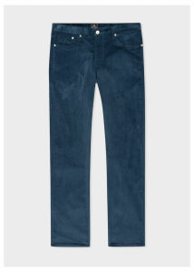 Men's Tapered-Fit Slate Blue Corduroy Trousers