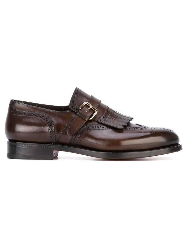 Santoni fringed monk shoes - Brown