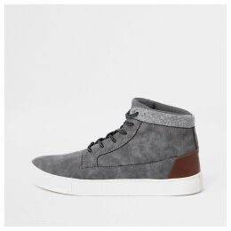 Mens River Island Grey wide fit high top trainers