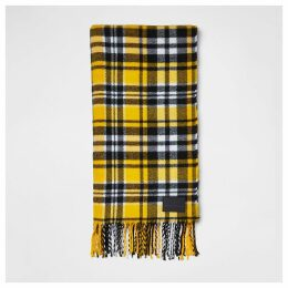 Mens River Island Yellow check print scarf