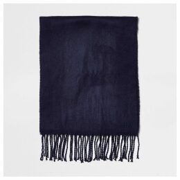 Mens River Island Navy woven embroiderd scarf