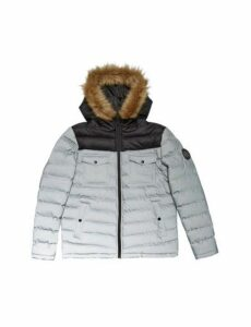Mens Silver Two Tone Lightweight Hooded Padded Jacket, SILVER