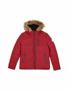 Mens Red Birch Fur Hooded Padded Jacket, RED