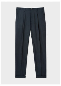 Men's Dark Navy Pleated Wool And Cotton-Blend Trousers