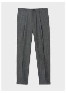 Men's Dark Grey Marl Pleated Wool And Cotton-Blend Trousers