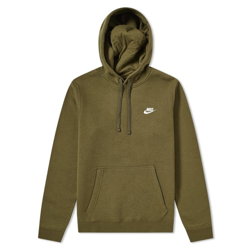 Nike Club Pullover Hoody Olive Canvas & White