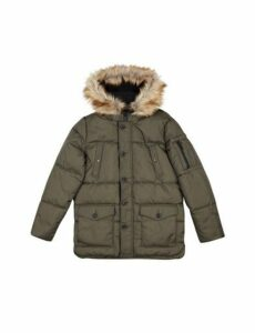 Mens Khaki Faux Fur Hooded Smart Parka Jacket, KHAKI
