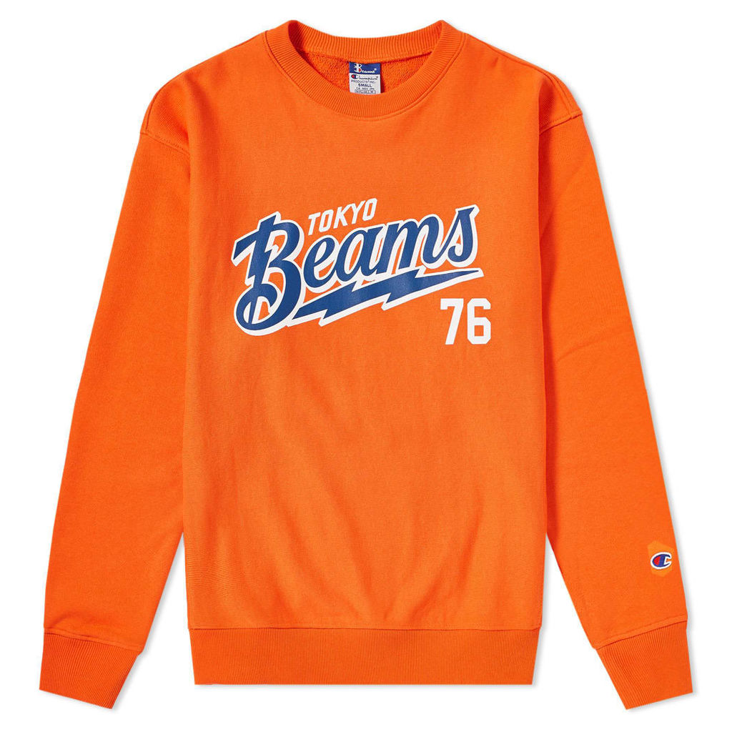 Champion x Beams Crew Sweat Orange