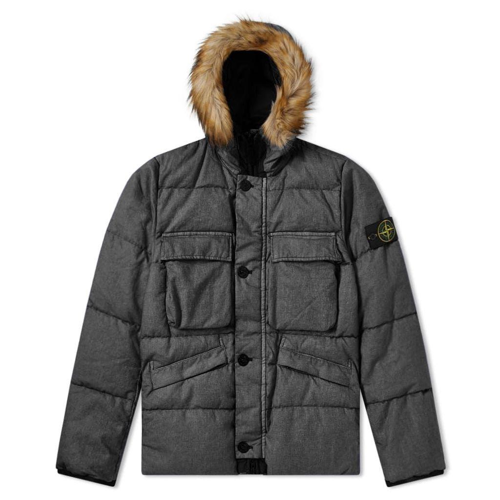 Stone Island Lino Resinato Down Filled Hooded Jacket Black