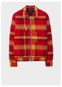 Men's Red Wool-Blend Blanket Check Patch-Pocket Jacket