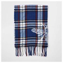 Mens River Island Blue check wasp print scarf