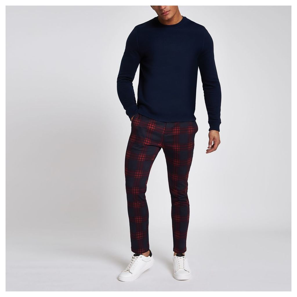 1af2591a01 Mens River Island Red check skinny chino trousers by River Island ...