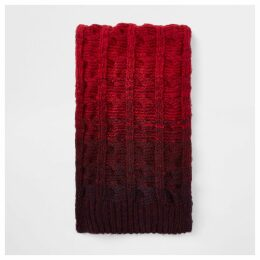 Mens River Island Red ombre knit scarf