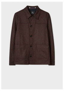Men's Brick Red Check Wool-Cashmere Work Jacket