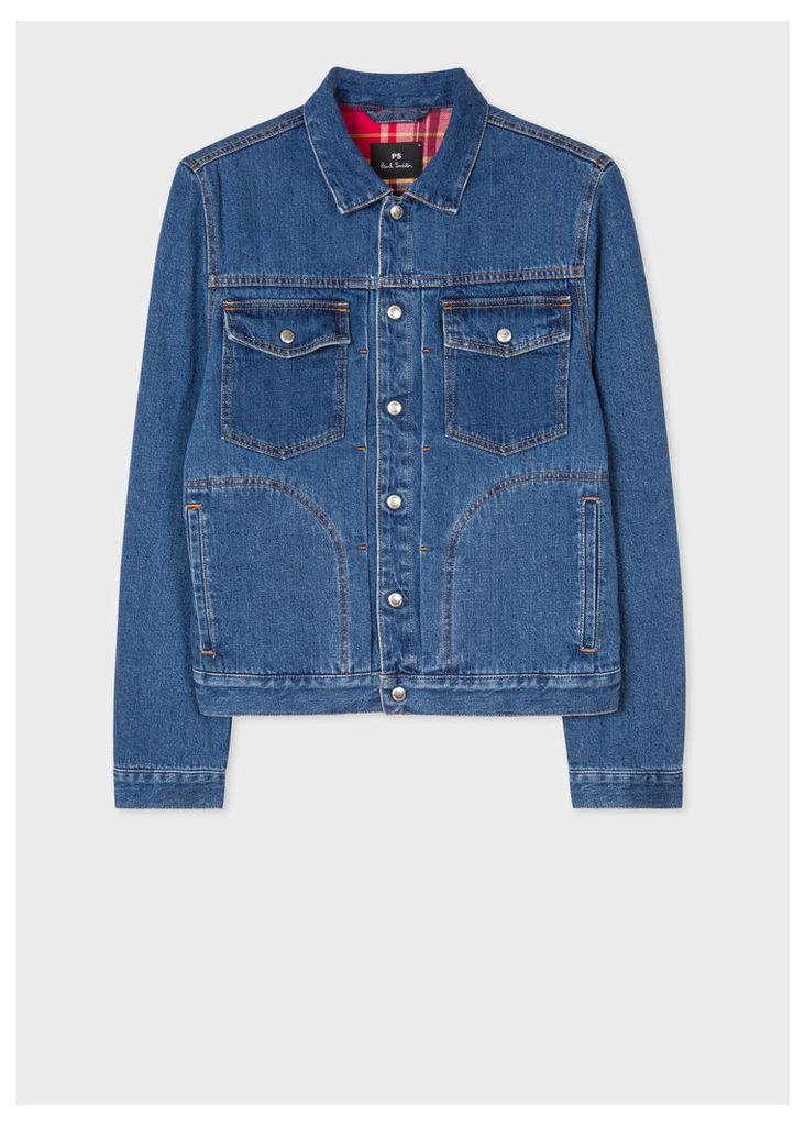 Men's Mid-Wash Pleat-Front Lined Denim Jacket