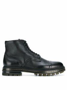 Santoni flat lace-up boots - Black