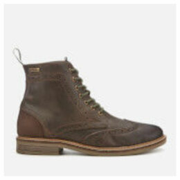 Barbour Men's Belsay Leather Brogue Lace Up Boots - Choco - UK 11