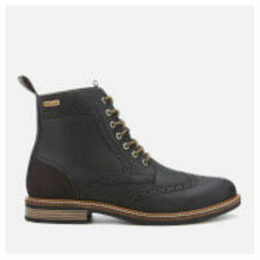 Barbour Men's Belsay Leather Brogue Lace Up Boots - Black - UK 11