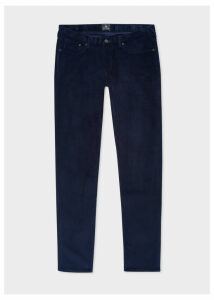 Men's Tapered-Fit Navy Corduroy Trousers