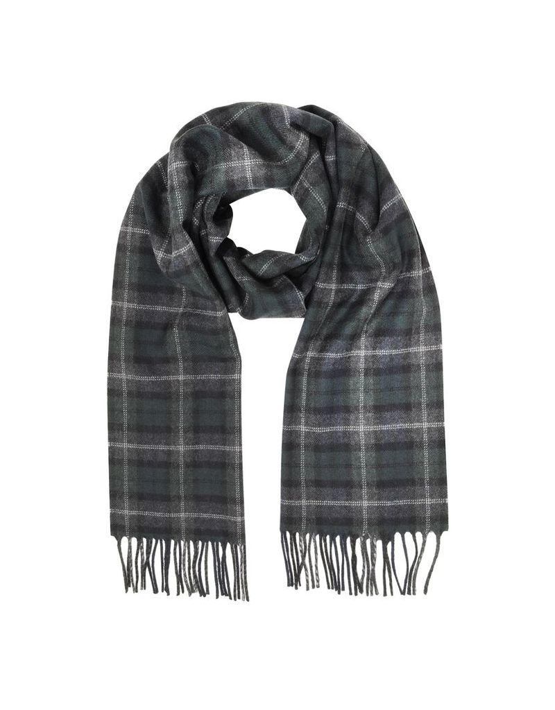 Lanvin Designer Men's Scarves, Tartan Solid Wool Fringed Scarf
