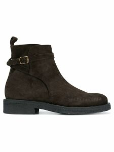 Ami Paris Strap Boots With Crepe Sole - Brown