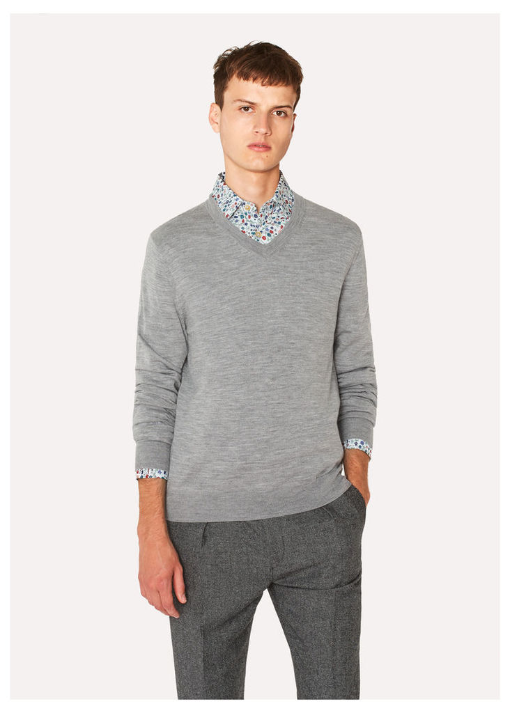 Men's Light Grey Marl V-Neck Merino Wool Sweater