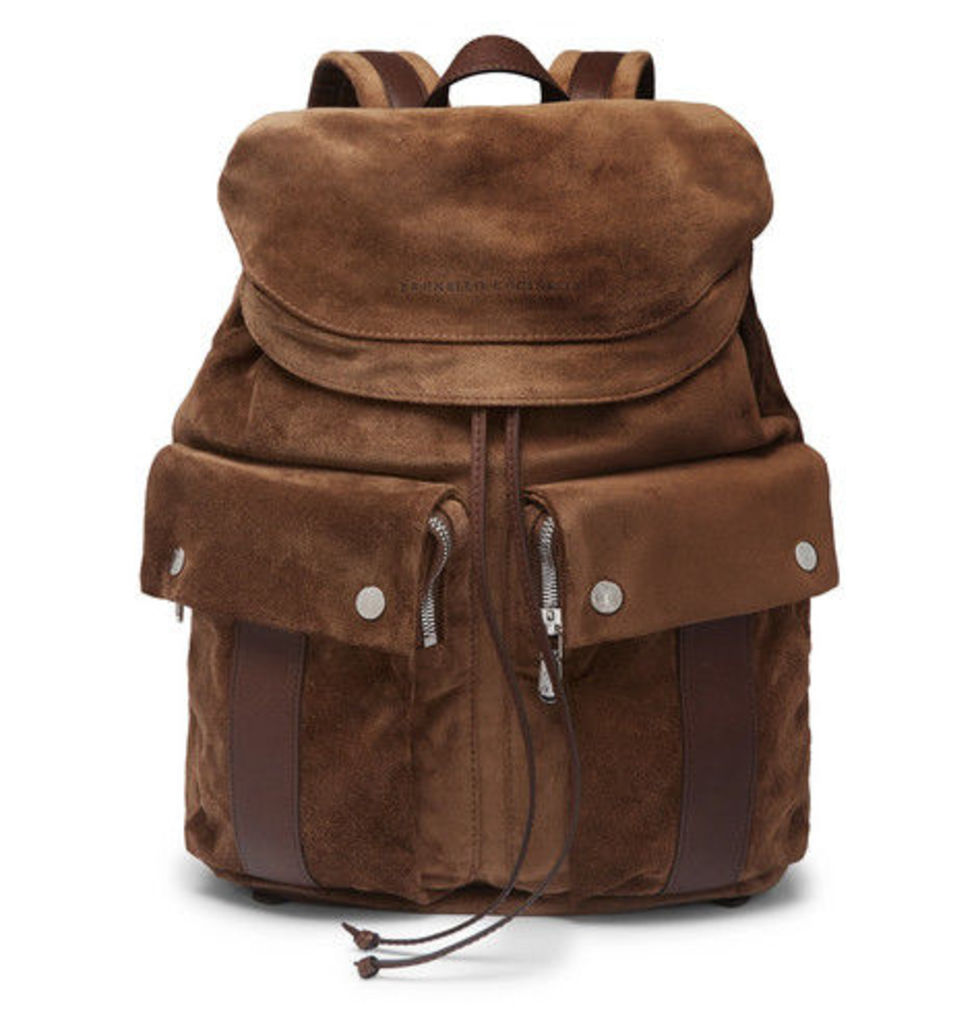 Brunello Cucinelli - Leather-trimmed Suede Backpack - Brown