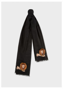 Men's Black 'Lion' Embroidery Wool Scarf