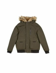 Mens Khaki Acorn Hooded Bomber Jacket, KHAKI