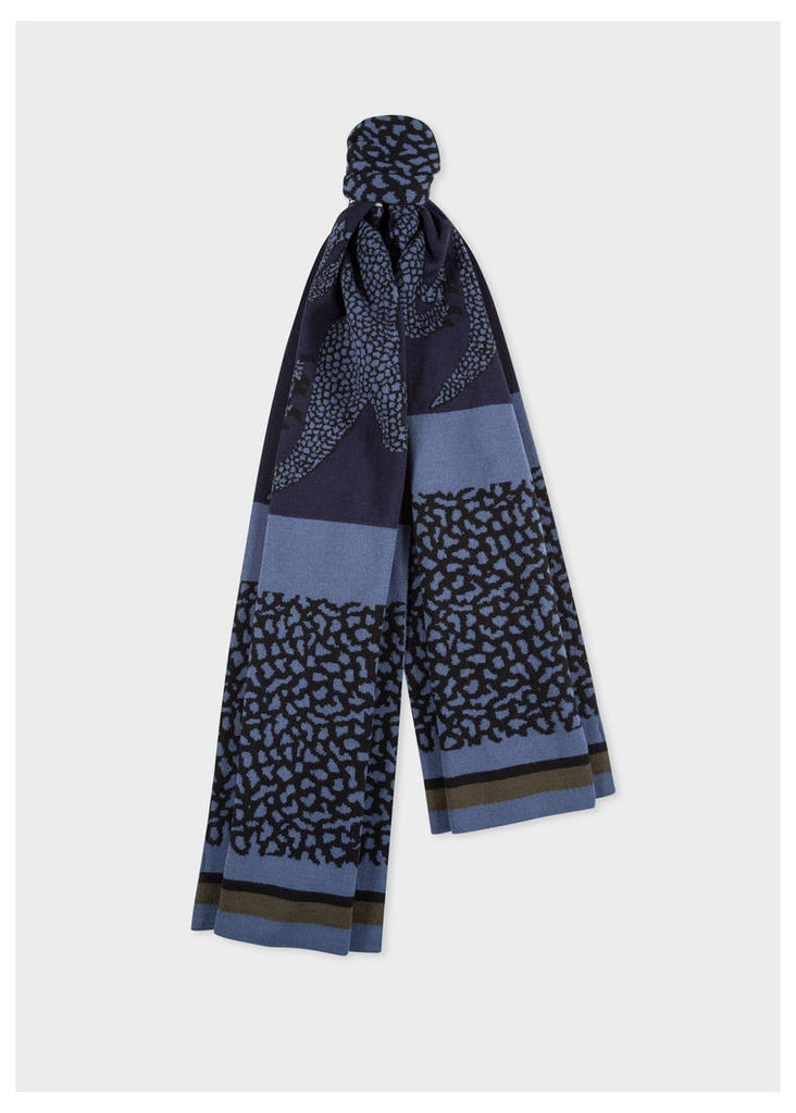 Men's Navy And Slate Blue 'Dino' Wool Scarf