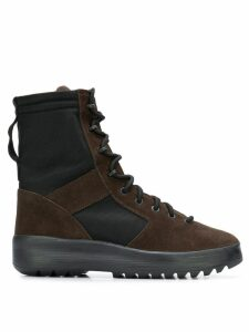 Yeezy Lace-up panelled military boots - Brown