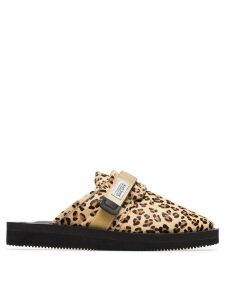 Suicoke Leopard Print Sheep Skin and Calf Hair Slippers - Neutrals