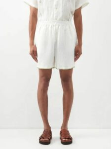 By Walid - Baldwin Shearling Lined Linen Jacket - Mens - Brown