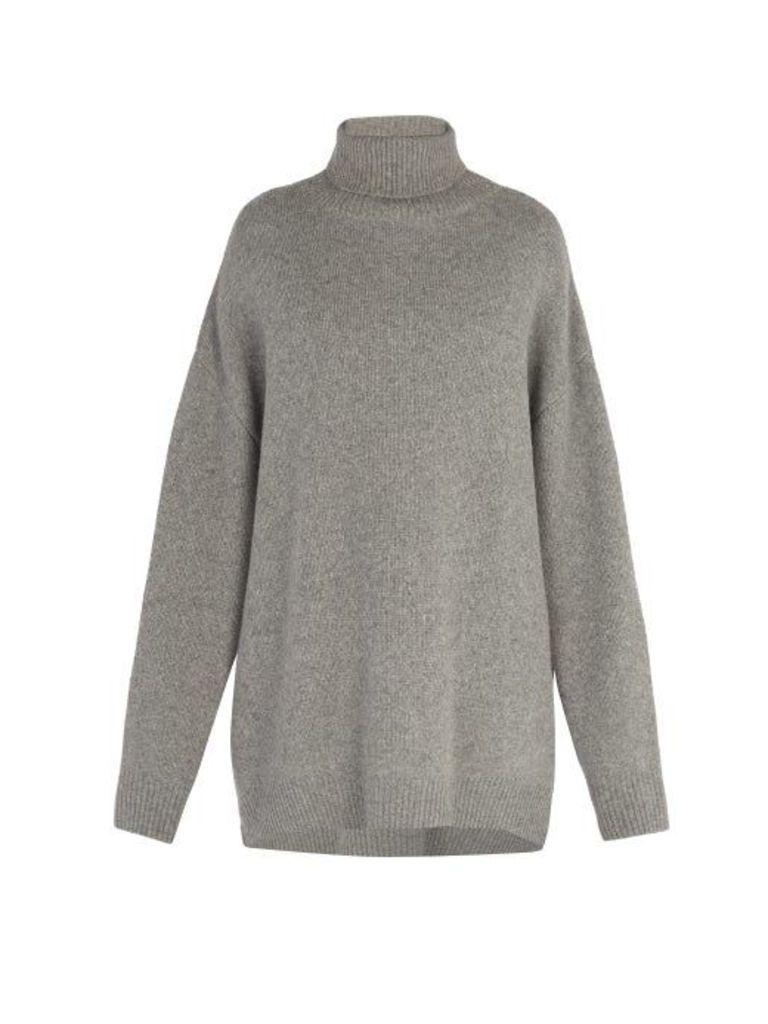 Raey - Displaced Sleeve Roll Neck Wool Sweater - Mens - Grey