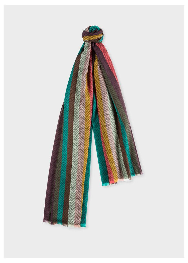 Men's 'Artist Stripe' Herringbone Lambswool Scarf