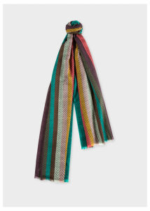 Men's 'Artist Stripe' Herringbone Lambswool Scarf
