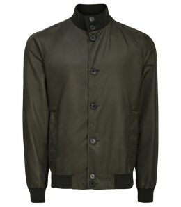 Reiss Heck - Funnel Neck Jacket in Olive Grey, Mens, Size XXL