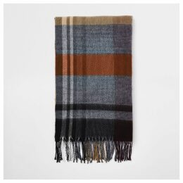 Mens River Island Brown check scarf