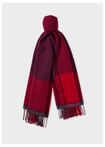 Men's Damson And Red Asymmetrical Check Wool Scarf