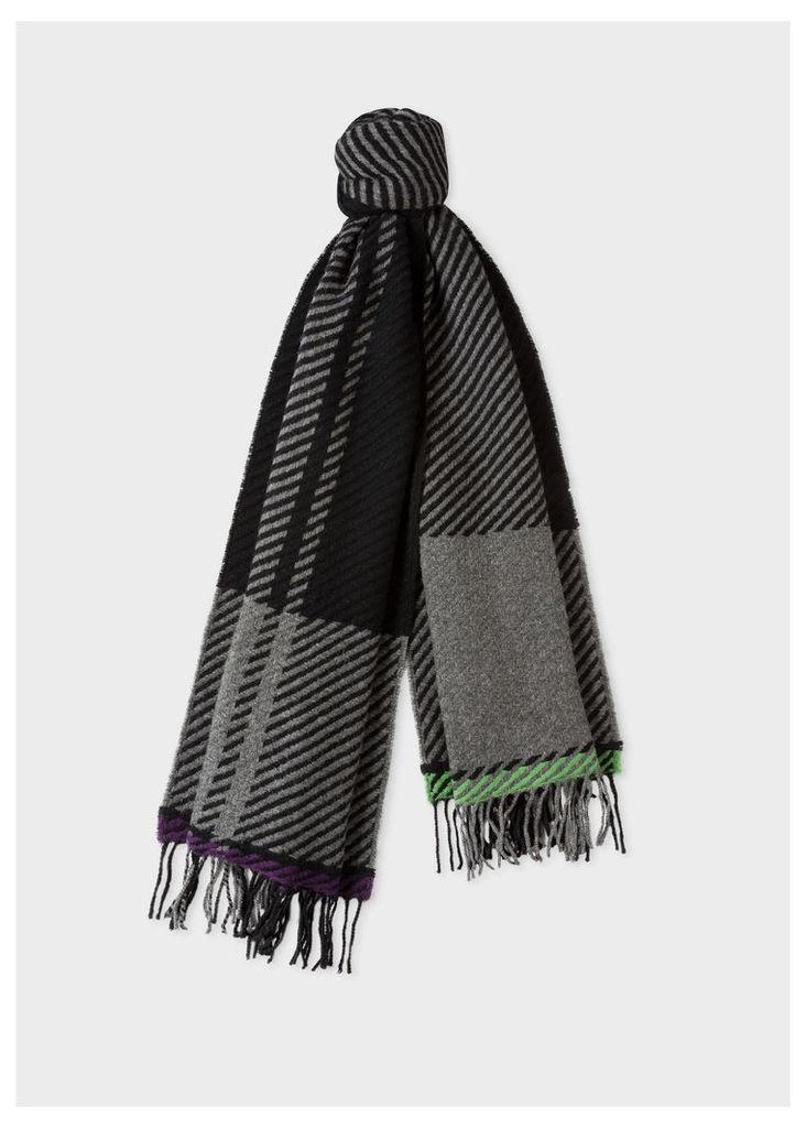 Men's Grey And Black Asymmetrical Check Wool Scarf
